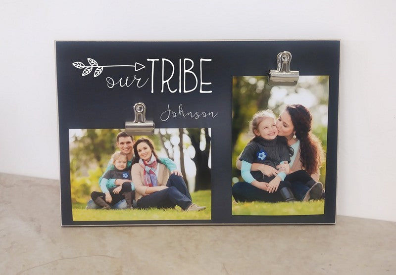 chalkboard photo frame, family gift, our tribe photo frame gift for family, christmas gift for her