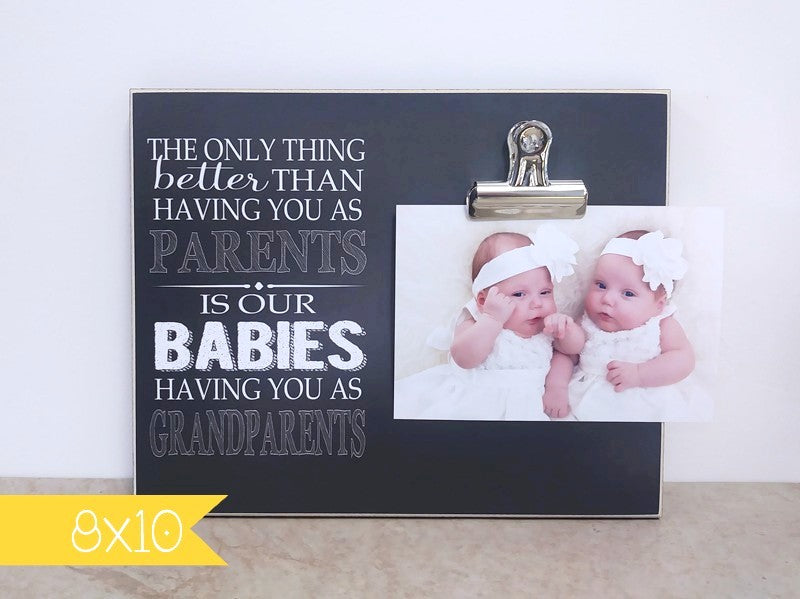 chalkboard photo frame for new grandparents, the only thing better than having you as parents is our babies having you as grandparents, pregnancy reveal frame