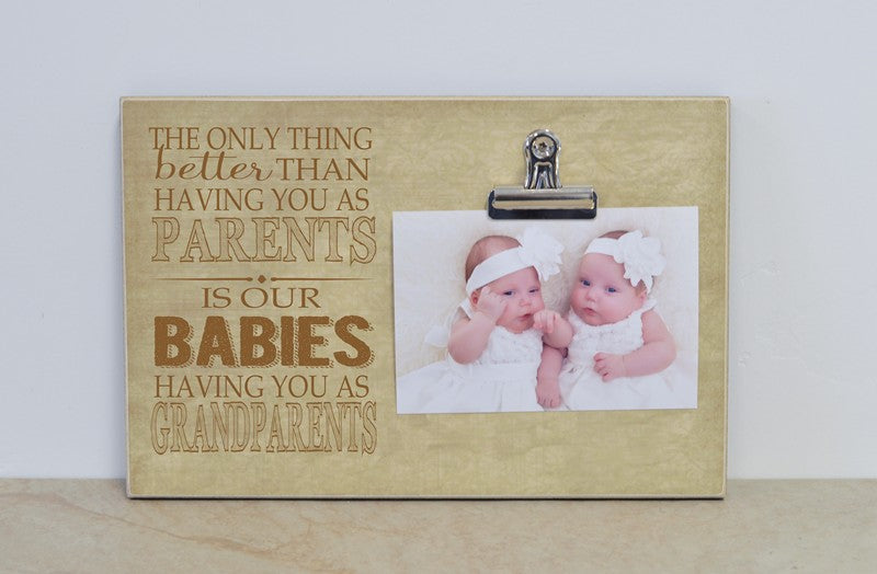twins pregnancy reveal photo frame gift for grandparents, new grandparents pregnancy announcement