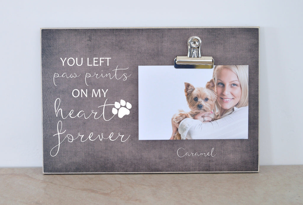 you left paw prints on my heart forever photo frame