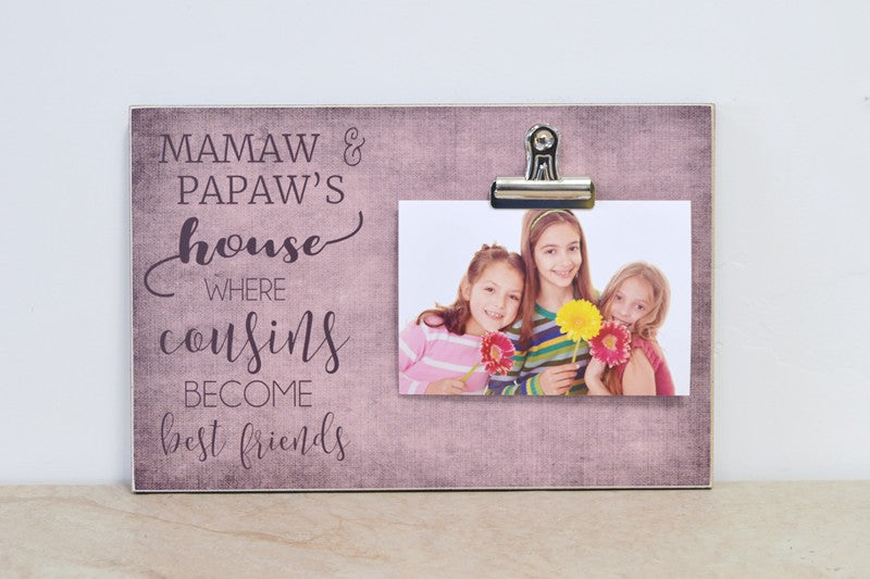 grandma and grandpas house, where cousins become best friends photo frame grandparent gift