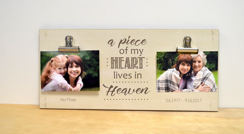a piece of my heart lives in heaven photo frame bereavement gift, sympathy gift