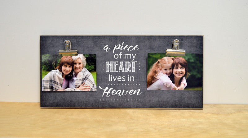 sympathy gift funeral decoration, a piece of my heart lives in heaven photo clip frame