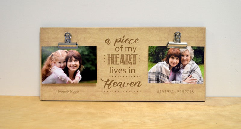 sympathy gift photo frame, a piece of my heart lives in heaven, personalized gift