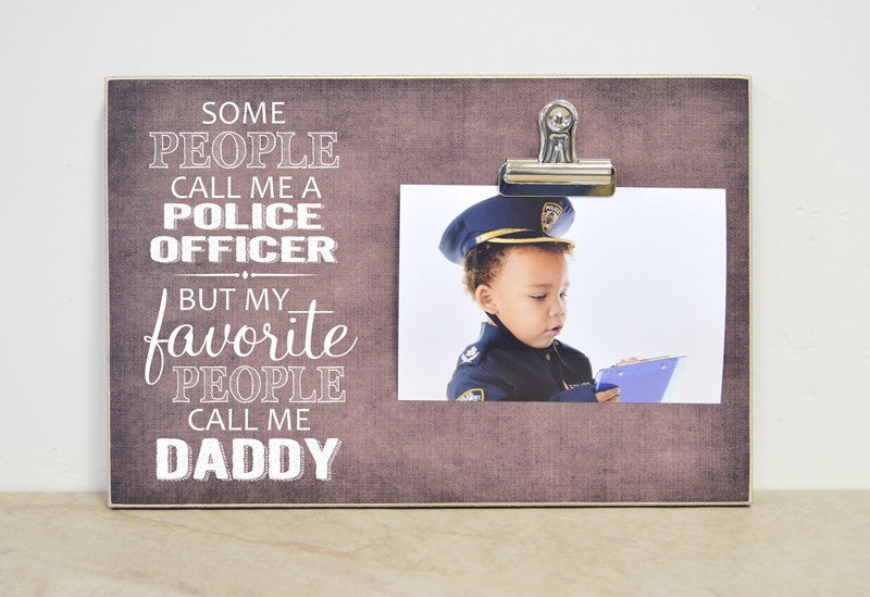 favorite people call me daddy, police officer picture frame gift for dad