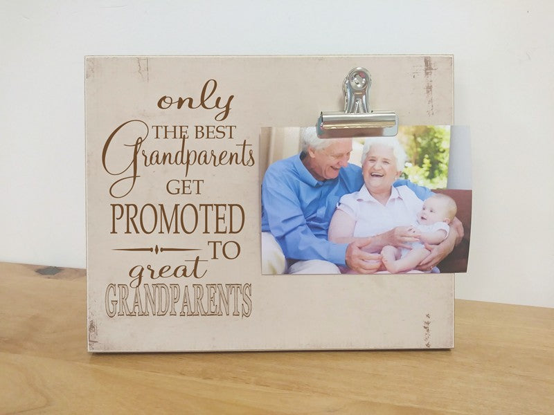 the best grandparents get promoted to great grandparents photo frame