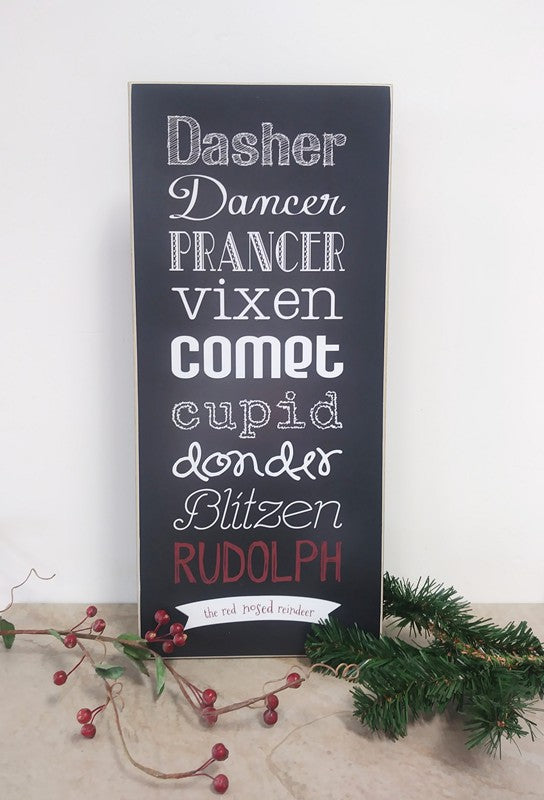 reindeer names wooden sign, christmas decoration