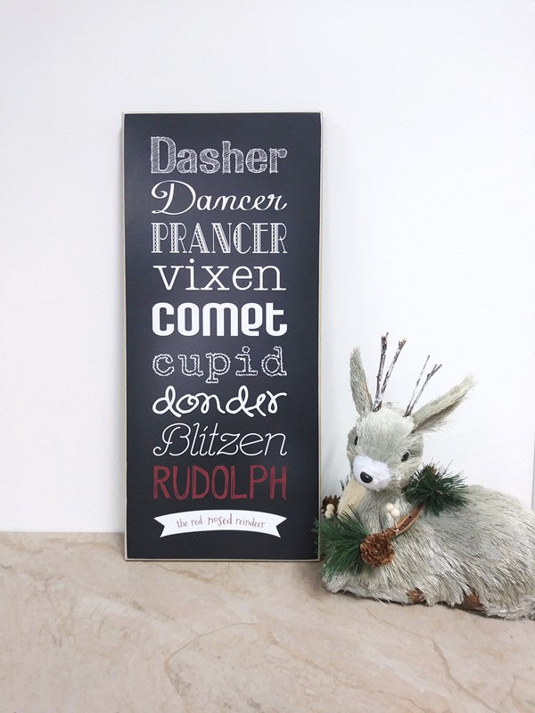 christmas decoration wooden sign, reindeer names, dasher dancer.... rudolph