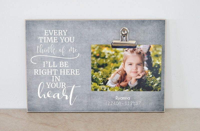memorial photo frame sympathy gift for funeral, celebration of life ceremony every time you think of me