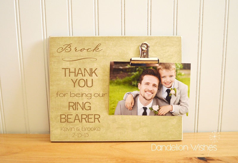 thank you gift for ring bearer - thank you for being our ring bearer photo frame