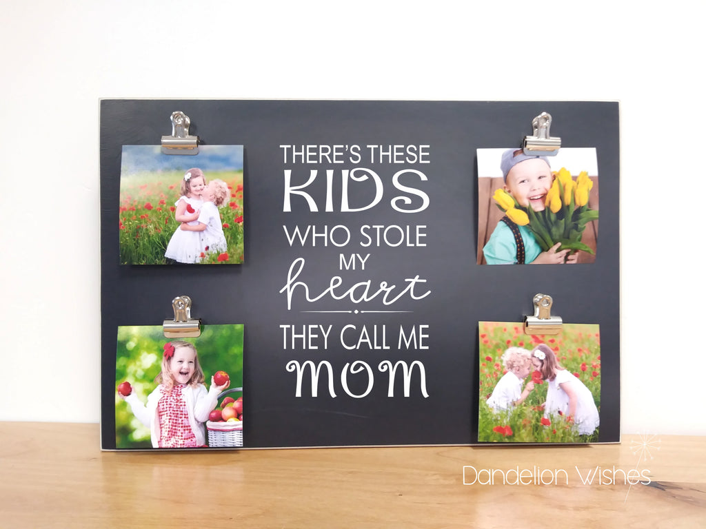 there's these kids who stole my heart they call me mom custom photo frame personalized gift for mom mothers day