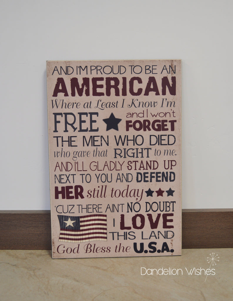 Proud To Be An American, 4th of July Home Decor Sign