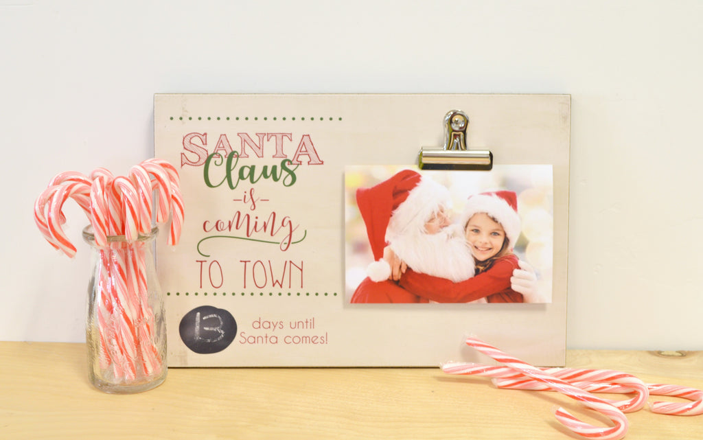 christmas countdown, days until christmas, santa claus is coming to town photo frame, christmas chalkboard countdown