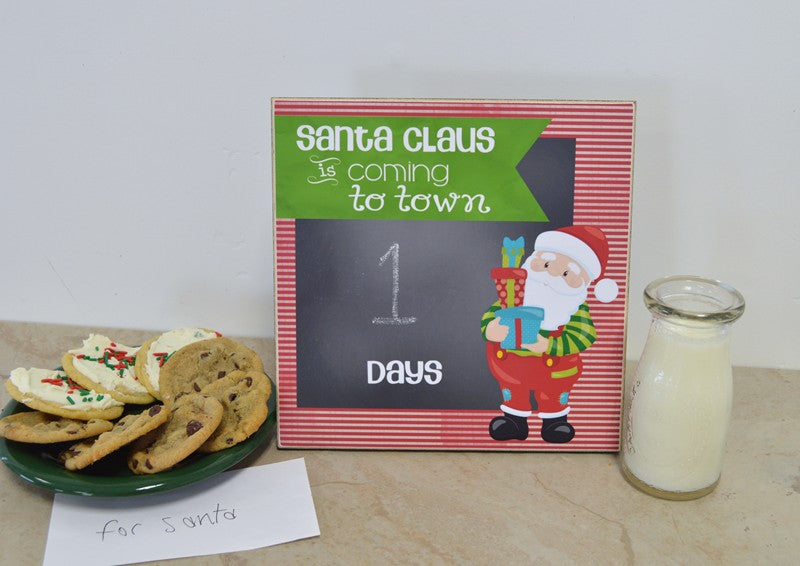 days until christmas countdown to christmas chalkboard, santa claus is coming to town