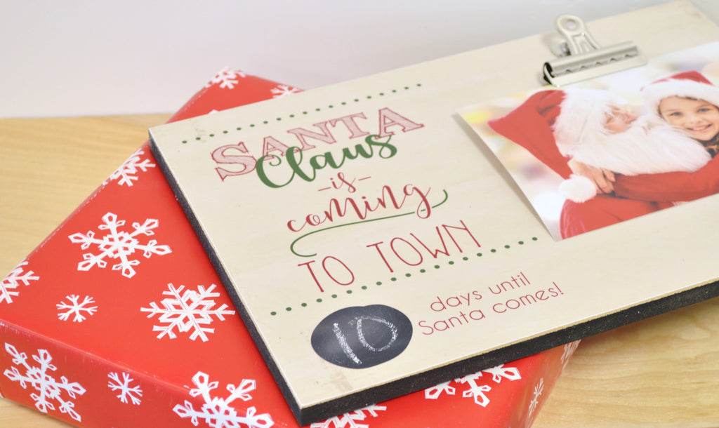 christmas chalkboard countdown the days until christmas with this cute santa claus is coming to town frame