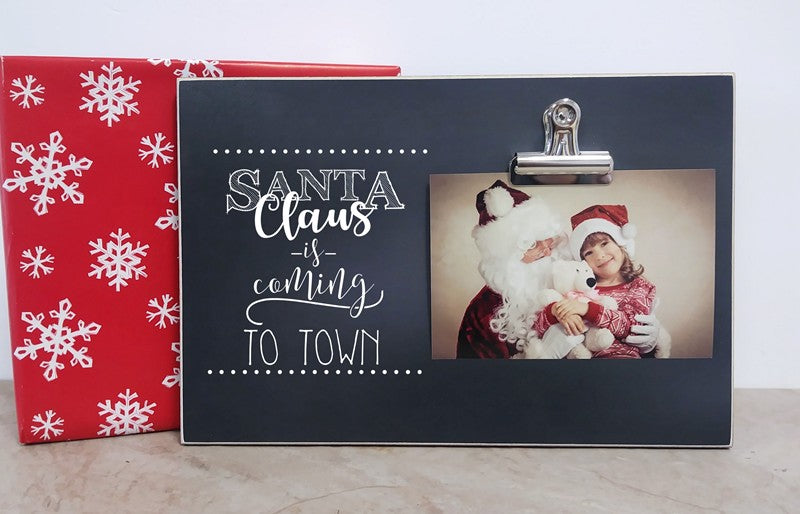 santa claus is coming to town chalkboard photo frame christmas decoration