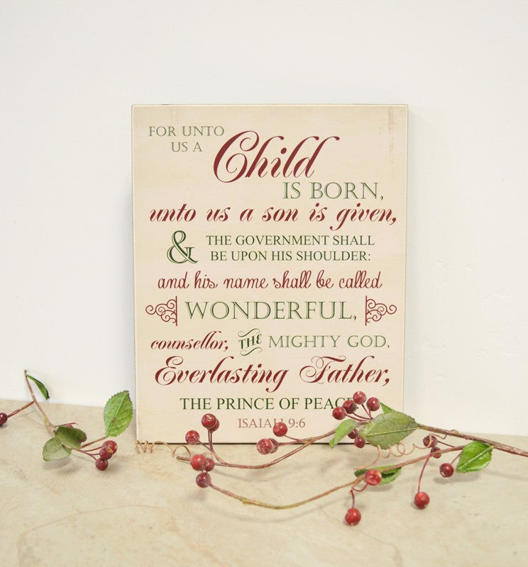 For unto us a child is born christmas sign, christmas decor wooden sign, christian christmas decor Isaiah 9:6