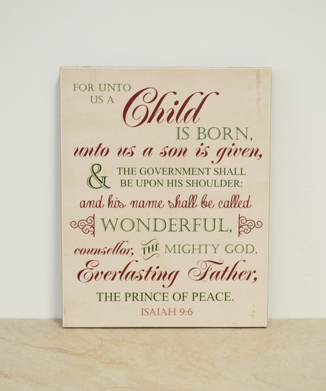 farmhouse christmas decor, wooden sign - for unto us a child is born