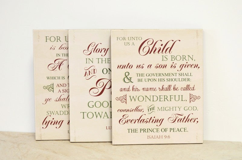 christmas scripture set, christmas decor, christmas signs, wooden signs, luke 2, Isaiah 9:6