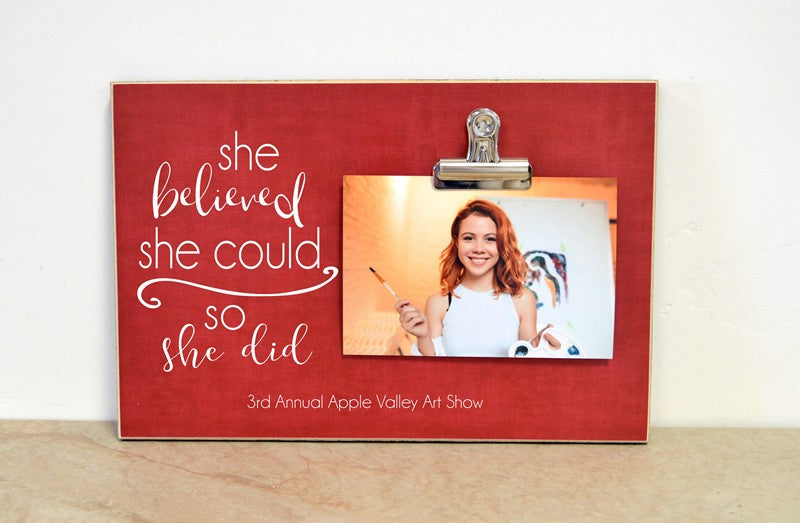 art show awards picture frame, personalized photo frame she believed she could so she did