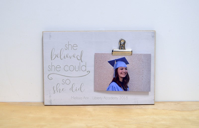 she believed she could so she did, personalized graduation gift, custom picture frame for graduate