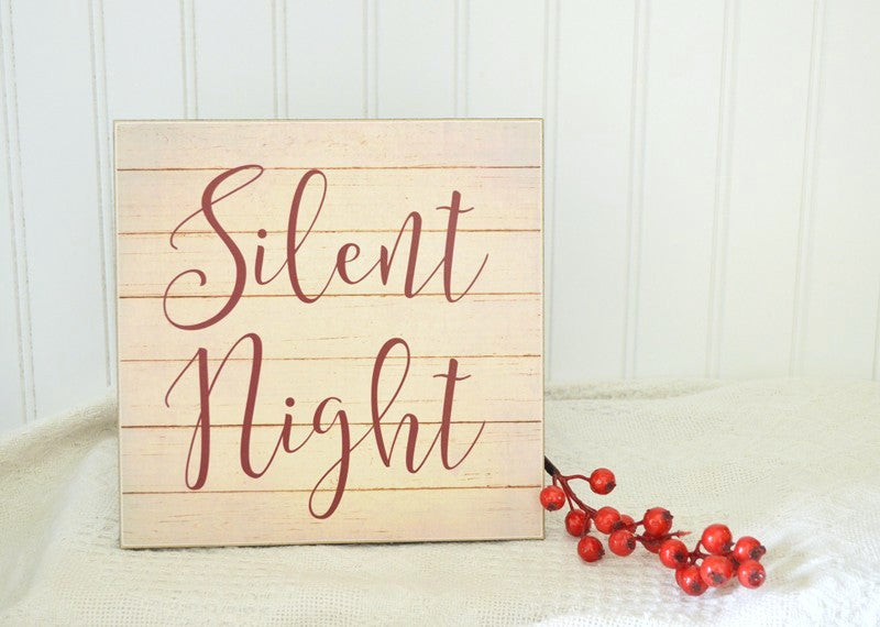 silent night christmas pallet sign
