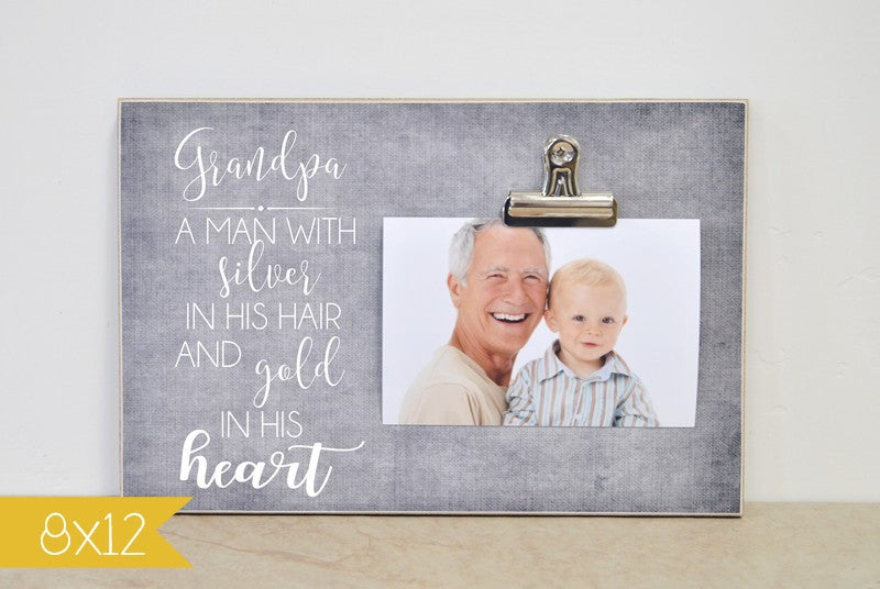 grandpa gift, pregnancy announcement to grandpa, new grandpa gift, grandparents day gift, is a man with silver hair and gold in his heart