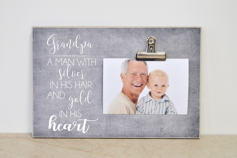 grandpa silver hear and gold heart photo frame gift for grandpa