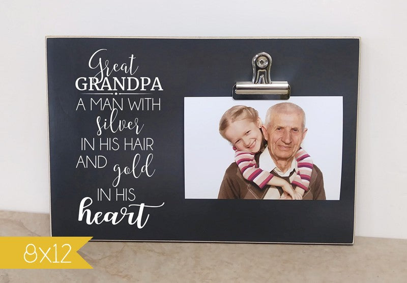 Great Grandpa silver hair 8x12 frame