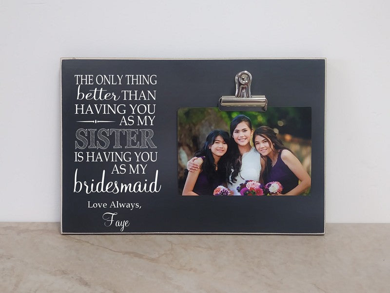 sister bridesmaid thank you frame