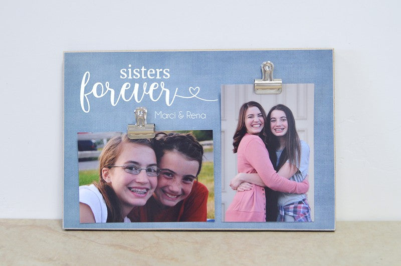 sisters forever personalized photo clip frame