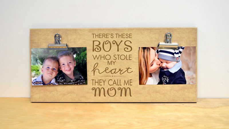 boys stole my heart they call me mom, mothers day gift for mom, custom photo frame