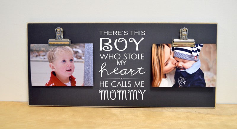 boy stole my heart, chalkboard photo frame gift for mom, mother's day gift idea