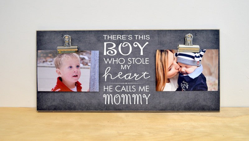 boy stole my heart mothers day photo frame, christmas gift for mom, photo clip frame