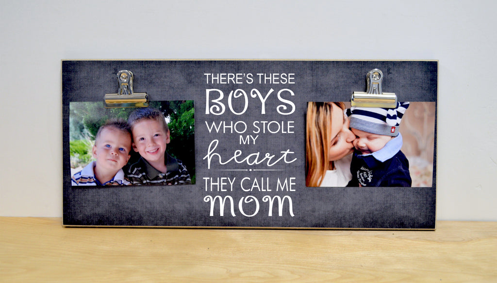chalkboard photo frame, mothers day gift idea, boys stole my heart photo frame gift for mom