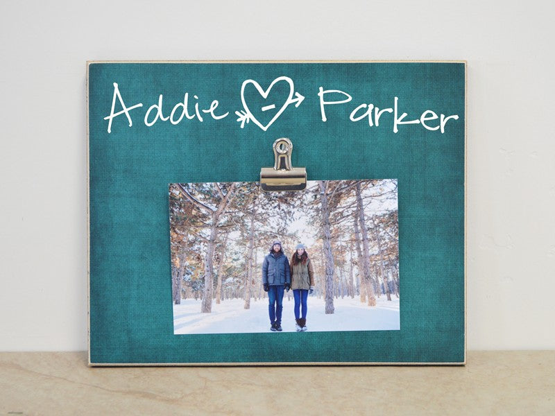 personalized photo frame gift for couple, anniversary gift, tree carved heart with names