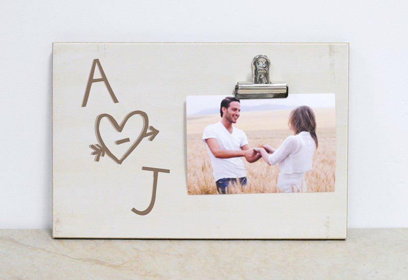 personalized gift for couple, wedding gift idea, couples photo frame with heart