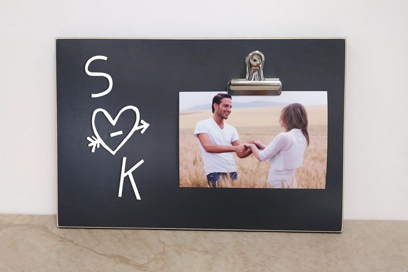 chalkboard photo frame ,wedding gift for couple personalized heart frame