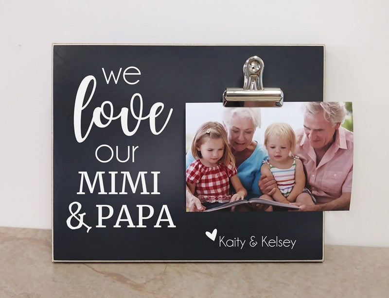 we love our mimi and papa photo frame for grandparents day gift