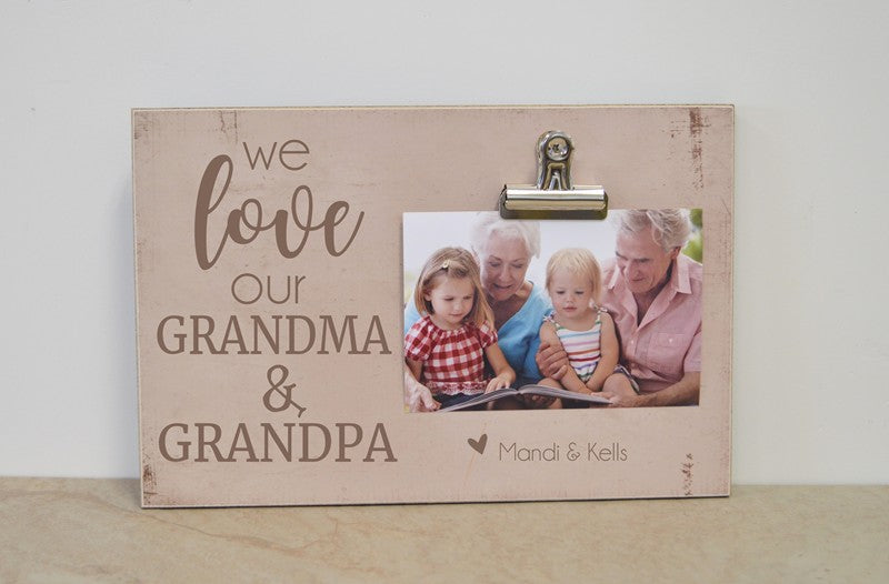 we love mimi and papa grandparents day gift idea gift for grandparents, photo clip frame gift