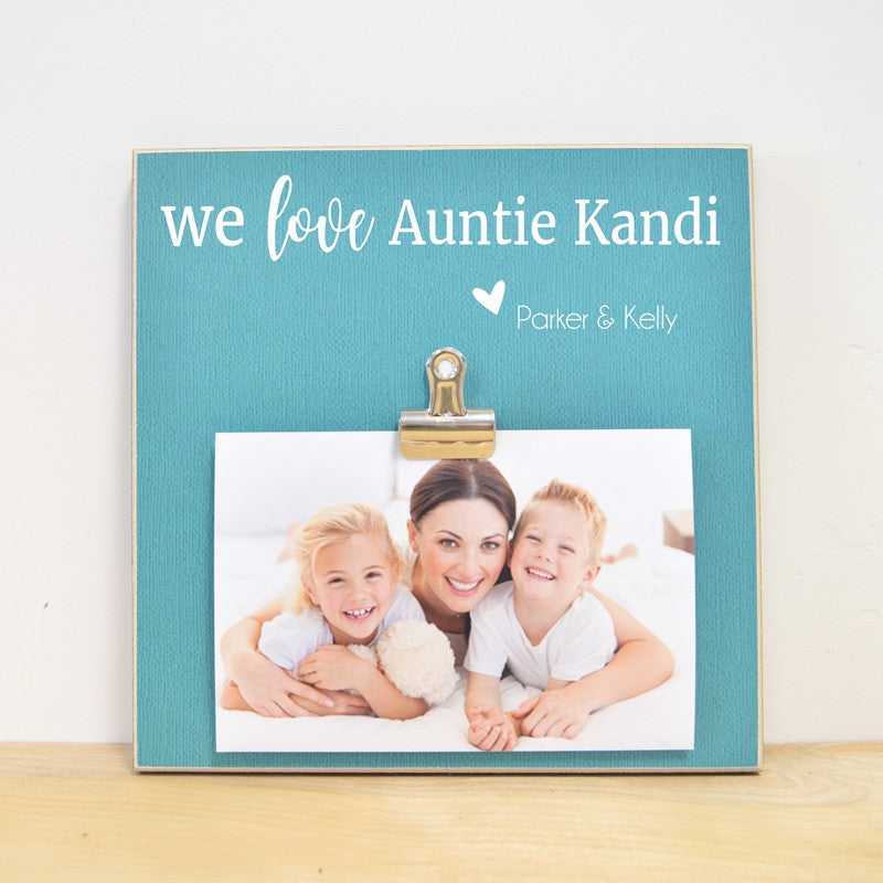 we love auntie personalized photo frame gift for aunt