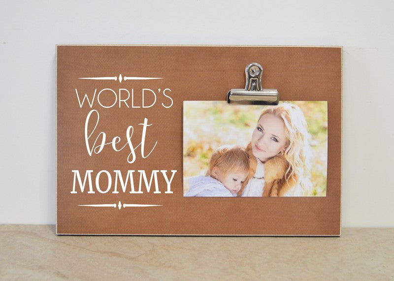 worlds best mommy photo frame, photo clip frame christmas gift for mom, mothers day gift for mommy birthday gift