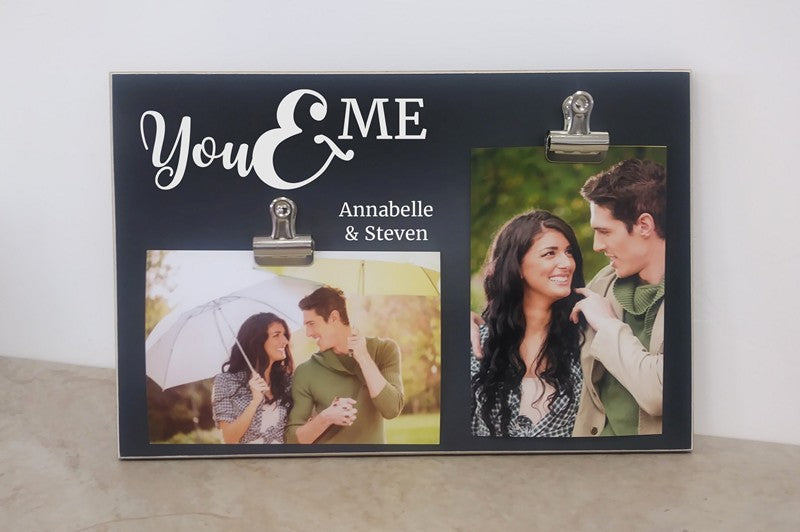 chalkboard photo frame, you and me personalized anniversary gift for her, gift for him, valentines day gift, wedding gift