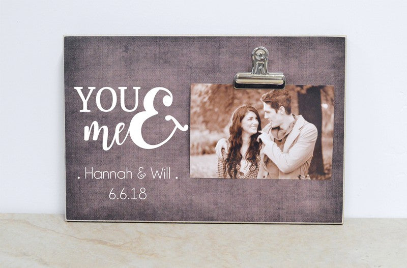 personalized anniversary gift, you and me photo frame with names