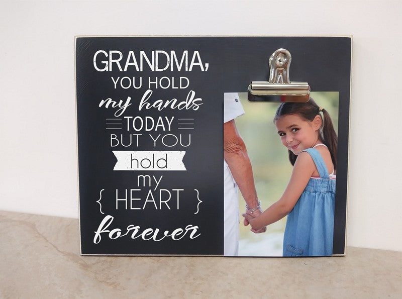 gift for grandma, mother's day photo frame, grandma picture frame, you hold my hand today but you hold my heart forever