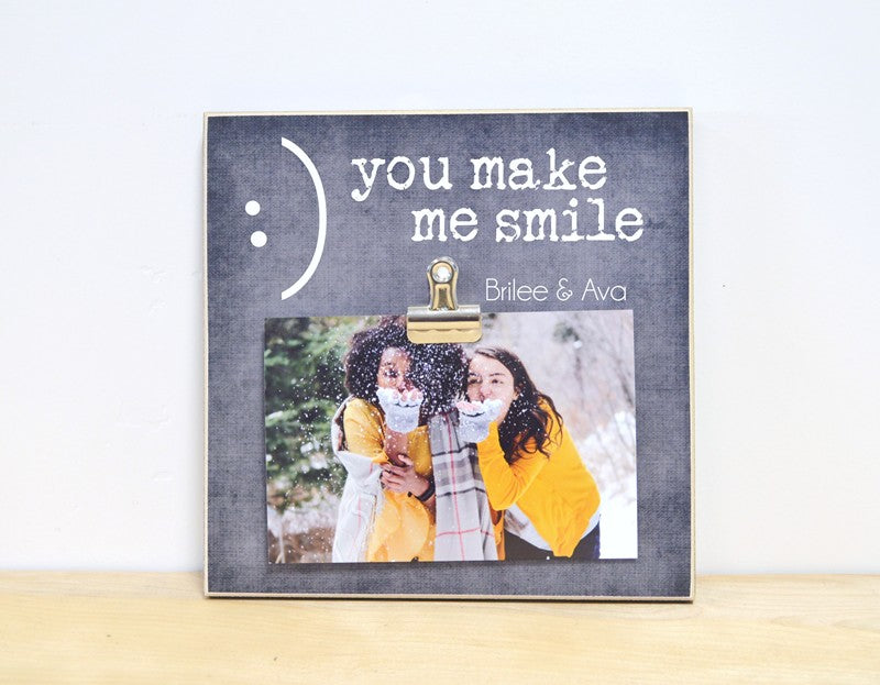 friendship gift for friends, you make me smile photo frame