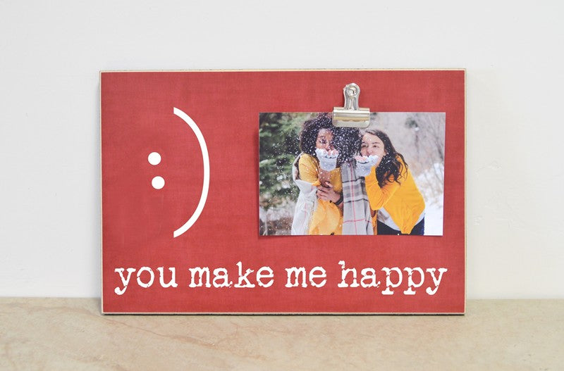you make me happy photo frame with smile, best friends gift red picture frame