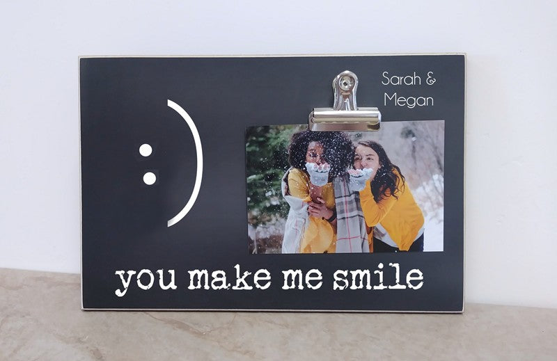 you make me smile friendship gift for best friend photo frame, personalized photo frame gift
