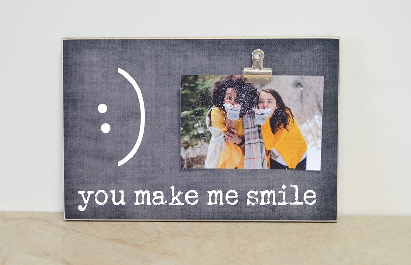 fun, custom photo frame gift - you make me smile picture frame