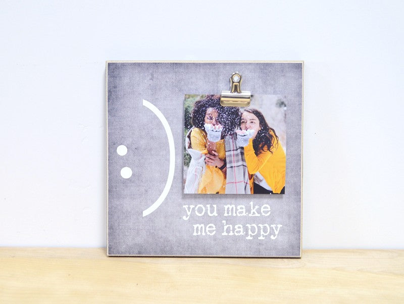 personalized friendship photo frame gift you make me happy